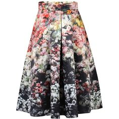 Jolie Moi Floral Print A-Line Midi Skirt, Black (£49) ❤ liked on Polyvore featuring skirts, floral skirt, knee length a line skirt, pleated a line skirt, knee length flared skirts and flared skirt