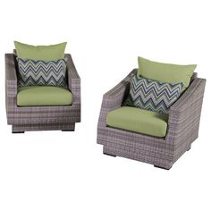 "RST Brands Cannes Club Chairs with Cushions, Ginkgo Green, 31"" x 31"" x 33"". Overall dimensions: club chairs: 31 in w x 33 in d x 31 in h seat height: 19 in weight capacity: 400 lbs. Powder-Coated aluminum frame. Holds up great in salt and chlorinated environments. Warranty details: one year."