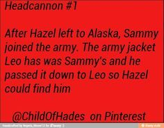 So I usually don't pin headcannons but. This makes totally sense and kind of makes me want to cry! [Leo's jacket is Sammy's, passed down for the whole hazel thing] Percy And Annabeth, Annabeth Chase, Leo Valdez, Percy Jackson Books, Percy Jackson Fandom, Solangelo, Percabeth, Rick Riordan Books, Uncle Rick