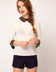 Dahlia Stud embellished collar blouse-cream