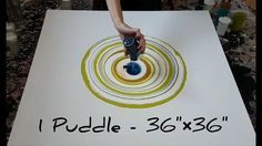 """Fluid Painting - 1 Puddle Pour on 36""""×36"""" Canvas + Dried Result - YouTube"""