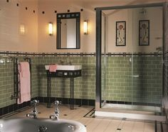 The art deco style is more present than ever today. People are interested in this centubry's style and usually design their bathrooms this way. But what is the art deco actually? 1930s Bathroom, Art Deco Bathroom, Victorian Bathroom, Vintage Bathrooms, Modern Bathroom, Small Bathroom, Bathroom Ideas, Green Bathrooms, Victorian Tiles