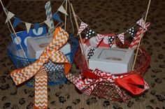 Tailgate Tubs - perfect (inexpensive) gift - festive football team colors....would be great for Now You Have It, Now You Don't guy's gift...fill with homemade treats, cups for favorite team, team colors etc.