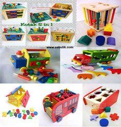 Mainan Seri Kotak Peraga: Kotak 5 in 1, kotak sortasi, sliding geometri, rumah angka, truk perbengkelan, truk peternakan dan bus sekolah. Ukuran: 20cm x 20cm Berat : 4000 gr  Manfaat Mainan Seri Kotak:  1. Melatih sensorik dan motorik anak. 2. Melatih koordinasi mata dan tangan. 3. Melatih konsentrasi dan ketelitian. 4. Melatih kreativitas dan kecerdasan. 5. Pengenalan angka huruf dan matematika. 6. Pengenalan warna dan bentuk geometri. 7. Pengenalan hewan. 8. Pengenalan alat perbengkelan.