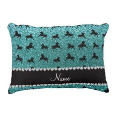 Personalized name turquoise glitter horses accent pillow