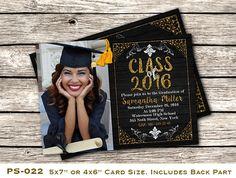 Printable Graduation Photo Invitation, Customizable High School Graduation Invite, DIY Senior Party Invitation, Printable Invite, PS-022.