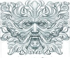 koru-curled green man drawing by john howe. love having two of my favorite symbols all rolled up into one. Colouring Pics, Coloring Pages, Coloring Books, Green Man Tattoo, Celtic Green, John Howe, Man Sketch, Jesus Pictures, Celtic Art