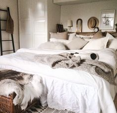 I'd love to paint my bedroom grey & then get all white bedding!! Elegant and romantic! -NC | Home Sweet Home  | White Bedding, Bedrooms and Bedding