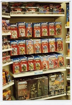 A 1980s-era toy shelf packed with classic He-Man / Masters of the Universe action figures, playsets, and vehicles