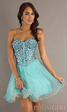 Short Blue Strapless Babydoll Dress at PromGirl.com