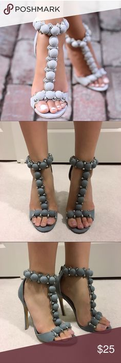 Grey T strap heels This is a new pair of sample shoes (no shoebox), please do not purchase if you can't accept sample shoes. Thanks :) Shoes
