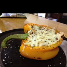 Tasty Leftover idea! Yellow pepper stuffed with leftover spaghetti, and topped with mozzarella and italian seasoning- and don't forget the garlic salt! Baked about 30 mins on 350. Actually pretty tasty!
