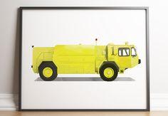 Car Wall Art, Rescue Vehicles, Boy Decor, Fire Trucks, Printable Wall Art, Wall Prints, Kids Playing, Home Art, Kids Room