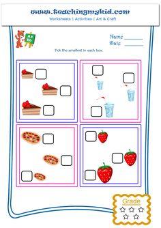 Kindergarten Learning Free Printable Worksheets – Tick the Smallest – Worksheet -2