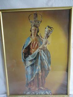 Preciosa litografía en cartón de la imagen de la Virgen y el niño