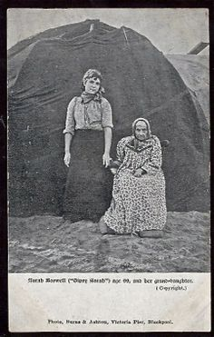 'Gipsy Sarah' Boswell, seated right, with one of her grand-daughters. Sarah and her husband Ned Boswell were two of the founder members of the Gypsy community at South Shore, Blackpool. She died in 1904, soon after this photo was taken