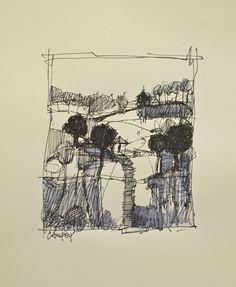 Hilltop - Ink on Paper,  Dennis Campay