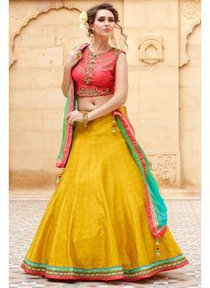 4e8694542f New Designer Banglori Silk Peach And Yellow Embroidered Lehegha Choli  Lehenga Choli Online, Lengha Choli