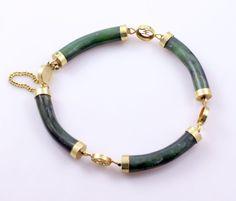 Vintage Green Jade Gold Plate Bar Link Bracelet #Bangle