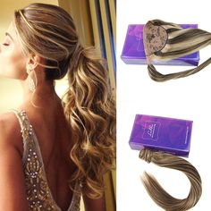 One piece Ponytail Hair Extensions Color #4 Dark Brown and #27 Honey Blonde Highlighted