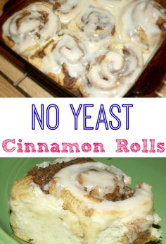 and Easy Homemade Cinnamon Rolls with No Yeast! Easy No Yeast Cinnamon Rolls that don't need to rise! Quick and Delicious! TRY today!Easy No Yeast Cinnamon Rolls that don't need to rise! Quick and Delicious! TRY today! Cinnamon Rolls Without Yeast, Cinnamon Bread, Easy Homemade Cinnamon Rolls, Vegan Cinnamon Rolls, Homemade Breads, Biscuit Cinnamon Rolls, Cinnamon Roll Icing, Cinnamon Bun Recipe No Yeast, No Yeast Rolls