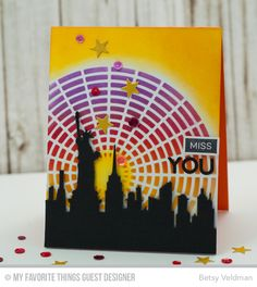 Label Maker Sentiments, Bottlecap Letters Die-namics, Label Tape Die-namics, New York Skyline Die-namics, Star Strips Die-namics, Concentric Circle Grid Stencil - Betsy Veldman  #mftstamps