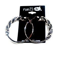 EARRINGS. Rue 21! 'Diamond' Encrusted Hoops. $6.99 Tags!