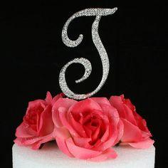 "Crystal Rhinestone Silver Letter ""T"" Monogram Wedding Cake Topper"