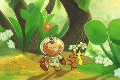 Olimar, Yellow Pikmin and Red Pikmin.