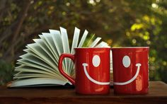 nice Book and Smile Cups