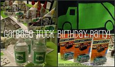 "garbage truck birthday party for boys ""pe-yew! Garbage Truck Party, Trash Party, 4th Birthday Parties, Birthday Fun, Birthday Ideas, Kids Party Themes, Party Ideas, Workers Party, Trucks"