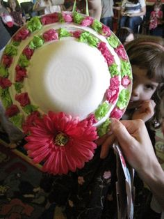 Lovely Hat for hanging - made out of Chinet plate, Chinet bowl, tissue paper and an inexpensive flower