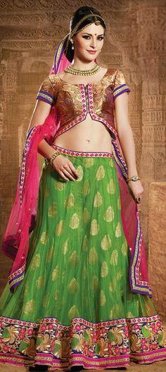 143773, Mehendi & Sangeet Lehenga, Net, Shimmer, Kasab, Border, Lace, Machine Embroidery, Sequence, Green Color Family