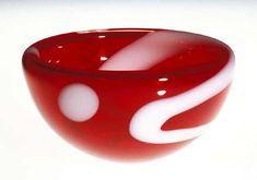 """""""Red Bubble Bowl""""  Art Glass Bowl  Created by Cristy Aloysi and Scott Graham"""