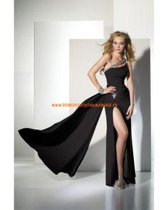 Robe asymétrique glamour originale décorée de cristaux robe de soirée 2013 pas cher mousseline