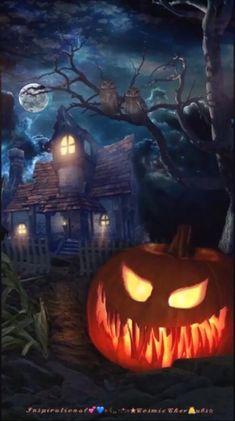 Happy Halloween Gif, Happy Halloween Pictures, Halloween Images, Halloween Signs, Halloween Cards, Scary Halloween, Fall Halloween, Halloween Live Wallpaper, Halloween Artwork