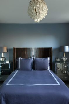 Small Blue Bedroom With Mirrored Bedside Tables. Modern Bedroom DesignModern  ...