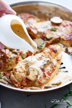 A Creamy Sun Dried Tomato Parmesan Chicken with Mushrooms that is Gluten Free and made with NO HEAVY CREAM.....or ANY cream.....at ALL!   http://cafedelites.com