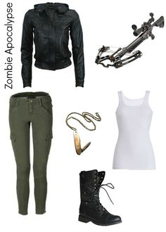 Is it bad that i've figured out my zombie apocalypse outfit?   Black leather jacket, white tank top, olive cargo pants, black combat boots and topped off with a crossbow and pocket knife necklace. Surely no one would care what'd they be wearing in an apocalypse but.