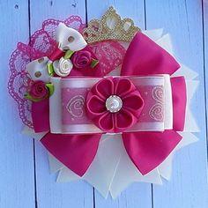 Pink and ivory kanzashi flower hair bow set Gold Hair Bow, Blue Hair Bows, Flower Hair Bows, Flowers In Hair, Kanzashi Flowers, Boutique Hair Bows, Making Hair Bows, Diy Bow, Bow Hair Clips