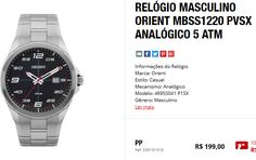 Relógio Masculino Orient MBSS1220 PVSX Analógico 5 ATM << R$ 15920 >>