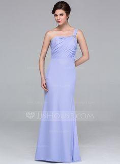 Trumpet/Mermaid One-Shoulder Floor-Length Chiffon Bridesmaid Dress With Ruffle Beading (007026195)