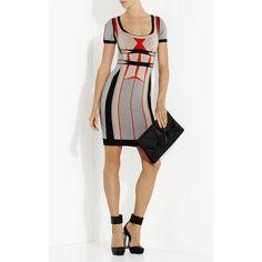 Herve Leger Gabi Engineered Colorblocked Jacquard Dress ($1,440) ❤ liked on Polyvore featuring dresses, orange, hervé léger, color block dress, colorblock dress, white jacquard dress and white day dress
