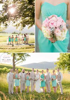 Country wedding, mint and pink wedding. wedding party photography. blush pink wedding. lace wedding dress. horseshoe wedding. www.theluxepearl.com  katelyn james photography  http://www.katelynjamesblog.com/