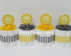 PLEASE READ STORE ANNOUNCEMENT BEFORE PLACING AN ORDER: https://www.etsy.com/shop/LanasDiaperCakeShop?ref=hdr_shop_menu   This listing is for 4 Pink Flowers Mini Diaper cakes  Each Cake is made With -8 Pampers Swaddlers Size (8-14 lbs) Stands approximately 55 tall and 55 wide sits on a 6 round cake board  The diaper cake will be shipped in a clear cellophane bag which is sealed at the top with a ribbon for added protection.  Cakes are made in a sterile, clean, and smo...