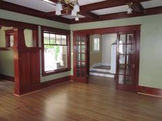 craftsman style homes Laurelhurst Craftsman Bungalow: Living Room Photos Craftsman Style Exterior, Craftsman Interior, Craftsman Bungalows, Craftsman Houses, Craftsman Remodel, Bungalow Interiors, Bungalow Homes, Modern Bungalow, Mission Style Homes