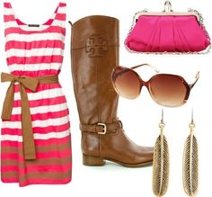 Pink Striped Dress, Brown Boots