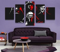 Star Wars Villans Dark Side Sith 5 Panel Canvas Wall Art Print