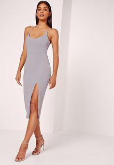 Missguided - Strappy Scoop Neck Midi Dress Grey Scoop Neck Dress 97c57eaad