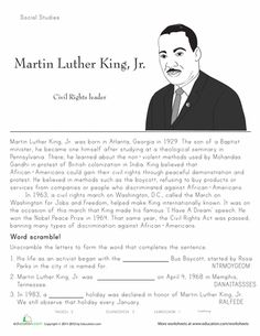Worksheets: Martin Luther King, Jr: Historical Heroes 2nd grade, free